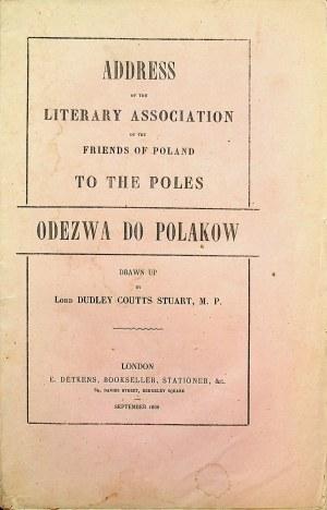 [STUART Dudley Coutts, 1803-1854] ODEZWA do Polaków Towarzystwa Literackiego Przyjaciół Polski