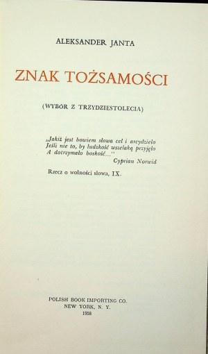 JANTA Aleksander Znak tożsamości(Wybór z trzydziestolecia), Wydanie 1