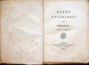 [WITWICKI Stefan] Listy z zagranicy przez Stefana W., Lipsk 1842