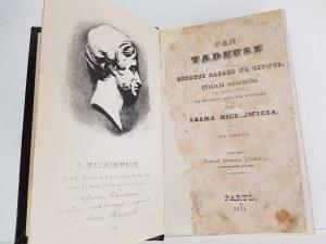 Mickiewicz Adam PAN TADEUSZ Paryż 1834 WYDANIE PIERWSZE