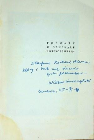 POEMATY O GENERALE ŚWIERCZEWSKIM Autograf Wiktora Woroszylskiego