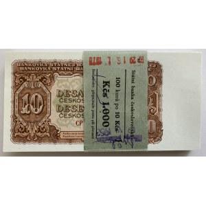 Czechoslovakia Original Bundle with 100 Banknotes 10 Korun 1953 Consecutive Numbers