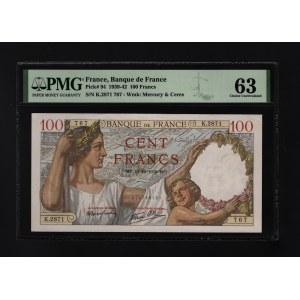 France 100 Francs 1939 PMG 63