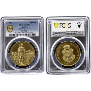 Austria 4-1/2 Ducats Medal 1836 Coronation of Bohemian King Ferdinand I in Prague PCGS SP62
