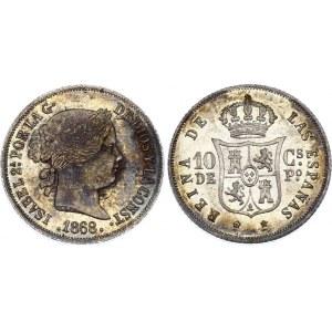 Philippines 10 Centimos de Peso 1868