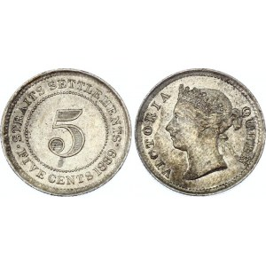 Straits Settlements 5 Cents 1889