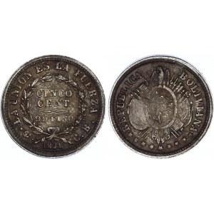 Bolivia 5 Centavos 1891 PTS CB