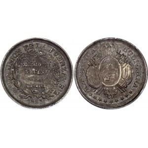 Bolivia 50 Centavos 1895 PTS ES Misstrike Error & Die Crack