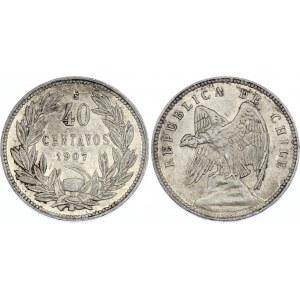 Chile 40 Centavos 1907 So
