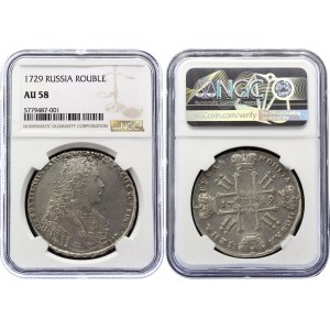 Russia 1 Rouble 1729 R1+ NGC AU 58