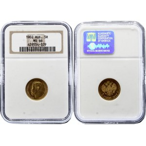 Russia 5 Roubles 1902 АР NGC MS 66