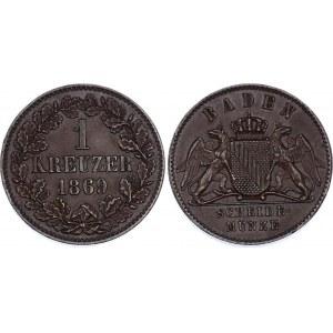 German States Baden 1 Kreuzer 1869