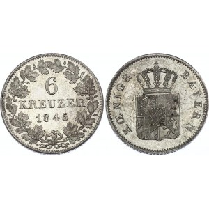 German States Bavaria 6 Kreuzer 1845