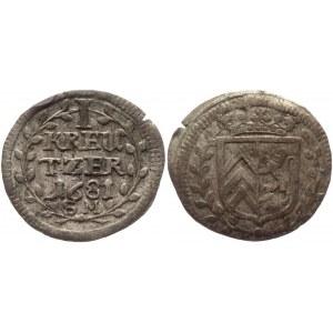 German States Hanau-Lichtenberg 1 Kreuzer 1681 SM