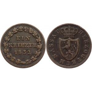 German States Nassau 1 Kreuzer 1832