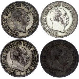 German States Prussia 4 x 1/2 Silber Groschen 1862 -1872