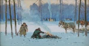 Władysław BOROWICKI (1909-1997), Rozpalanie ogniska [Scena z polowania]