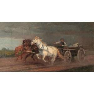 Malarz nieokreślony, XIX w., Trzykonny zaprzęg