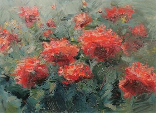Malarz nieokreślony, XX w., Ogród pełen kwiatów, 1960