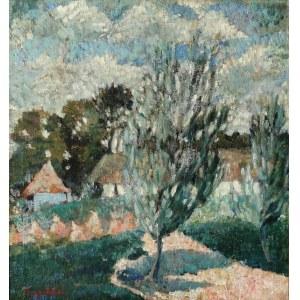 Czesław RZEPIŃSKI (1905-1995), Pejzaż z chatami, 1932