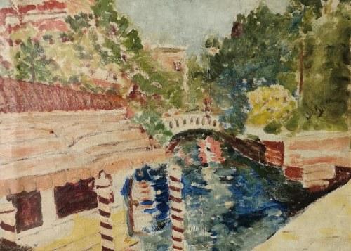 Malarz nieokreślony, XX w., Motyw miejski z kanałem