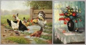 Beniamin Bencion SOKIRAŃSKI (1857-1953), Para obrazów: Kwiaty i Kury