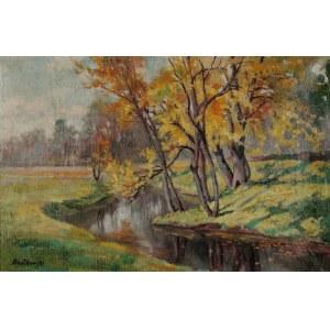 Roman BRATKOWSKI (1869-1954), Jesienny pejzaż z zakolem rzeki