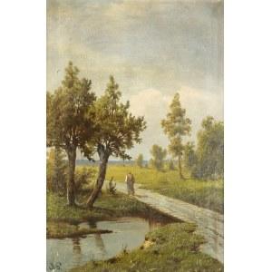 Józef GURANOWSKI (1852-1922), Pejzaż z rzeczką i postacią