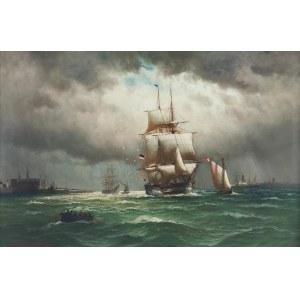 Alfred JENSEN (1859-1935), Statek wpływający do portu w Helsingor, 1907