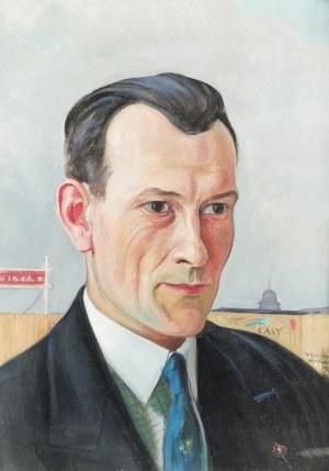 Wlastimil HOFMAN (1881-1970), Jerzy Antoni Potocki przed stadionem Wisły w Krakowie, 1932