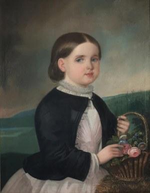 Malarz nieokreślony, 1 poł. XIX w., Mała dziewczyna z koszykiem kwiatów, ok. 1840