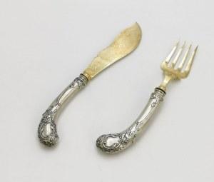 Hanseatische Silberwarenfabrik (czynna od 1926), Nóż i widelec do ryb środka stołu w etui