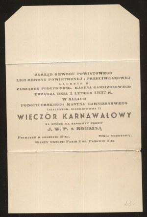 Białystok. Zaproszenie na wieczór karnawałowy 1937 r.