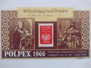 Dwie nalepki Polpex 1966 r.wydane przez Polskie Towarzystwo Filatelistyczne w Chicago.