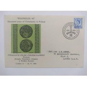 Koperta ze znaczkiem pocztowym z okazji Wystawy Związku Filatelistów Polskich w Wielkiej Brytanii.