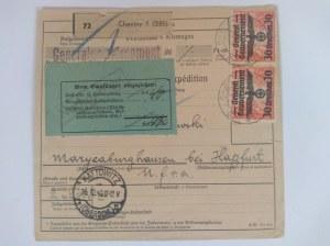 Dowód nadania paczki Katowice-Chęciny 16.12,1940 r.
