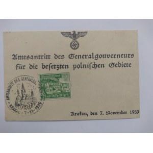 Okupacyjny druk ze znaczkiem i stemplem 7.11.1939 Krakau.