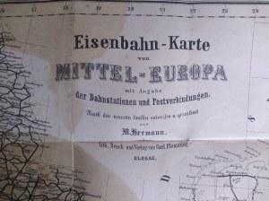 Mapa Europa Środkowa (Mittel Europa), Glogau 1866