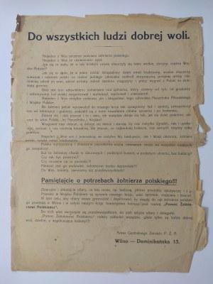 Odezwa Wileńskiego Oddziału Centralnego zarządu organizacji