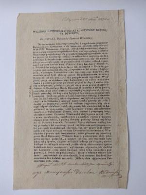 Odezwa drukowana wileńskiego rzymsko-katolickiego konsystorza z 17 X 1831r..