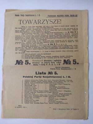 Afisz Polskiej Partii Socjalistycznej agitujący do głosowania na listę PPS nr 5 Wilno 1922 r.