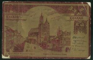 Kraków, Rynek, litografia na metalowej folii,