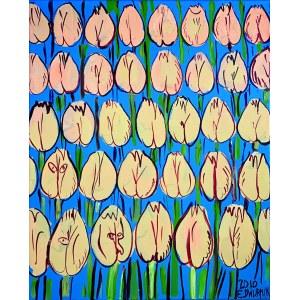 Edward Dwurnik ( 1943 - 2018 ), Różowe tulipny 2010
