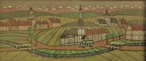 Nikifor Krynicki(1895-1968),Widok wieś pamiątka