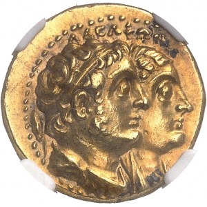 Royaume lagide, Ptolémée II (283-246 av. J.-C.). Tétradrachme Or ou pentekontadrachmon (50 drachmes) ND (après août 272), Alexandrie.