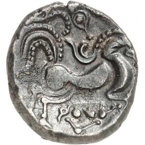 Coriosolites (fin de la Ière moitié du Ier siècle av. J.-C.). Statère de billon, classe II, au nez pointé ND (c.50 av. J.-C.).