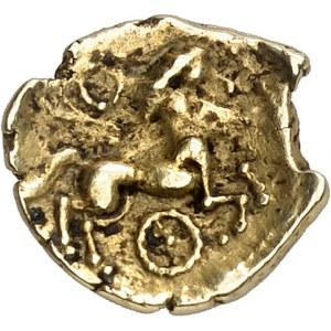 Vénètes (IIe - Ier siècle av. J.-C.). 1/4 de statère au bâton en cimier et à la roue ND (IIe-Ier s. av. J.-C.).