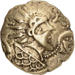 Vénètes (IIe - Ier siècle av. J.-C.). Statère à la chevelure rayonnante (tête d'indien) ND (IIe s. av. J.-C.).