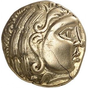 Aulerques Diablintes (IIe-Ier s. av. J.-C.). Quart de statère à la situle ND (120-50 av. J.-C.).