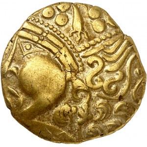 Aulerques Éburovices (IIe siècle av. J.-C.). Hémistatère classe I, à la joue lisse ND (Ier s. av. J.-C.).